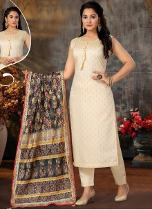 Off White Mehndi Designer Suit
