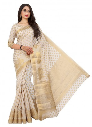 Off White Mehndi Designer Traditional Saree