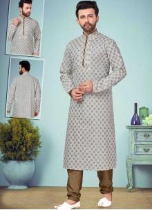 Off White Mehndi Kurta Pyjama