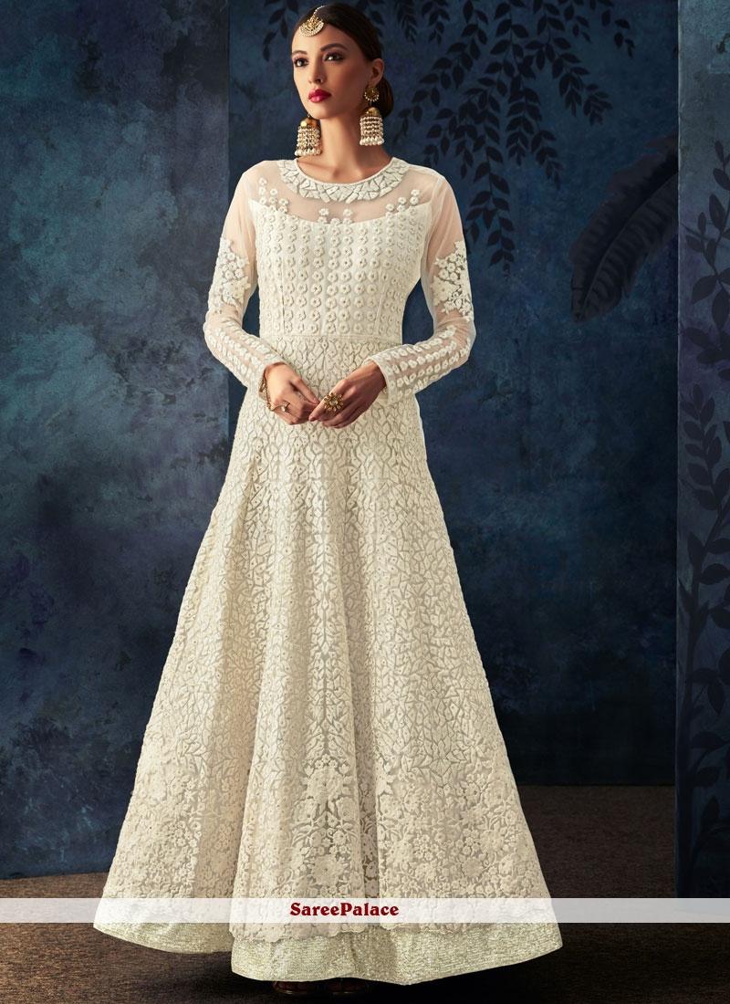 6701677f9d Buy Off White Mehndi Net Anarkali Salwar Kameez Online