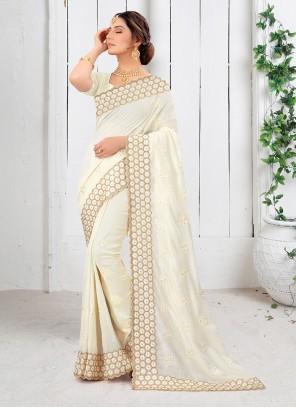Off White Mehndi Silk Saree