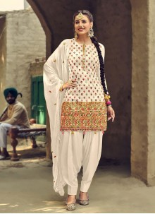 Off White Mirror Patiala Salwar Suit