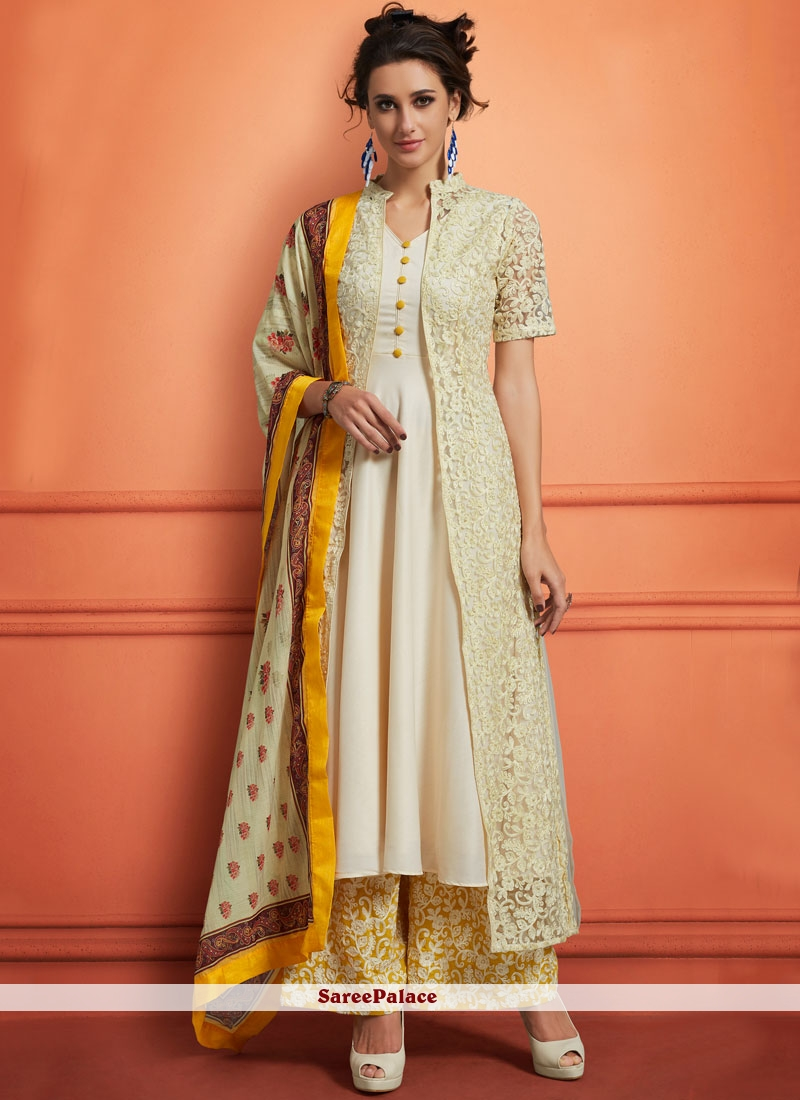 Buy Off White Muslin Palazzo Designer Salwar Suit Online