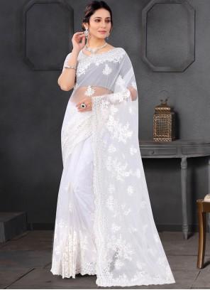 Off White Net Ceremonial Trendy Saree
