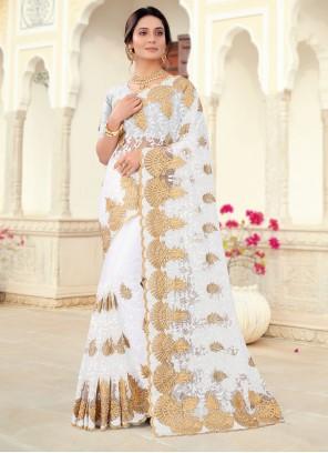 Off White Net Classic Saree