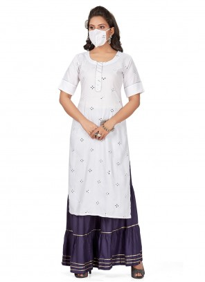 Off White Print Rayon Party Wear Kurti