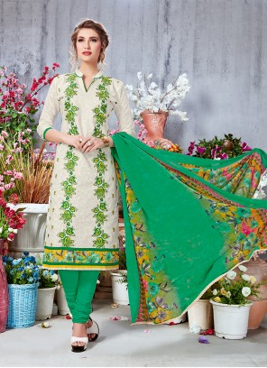 Off White Printed Party Salwar Suit