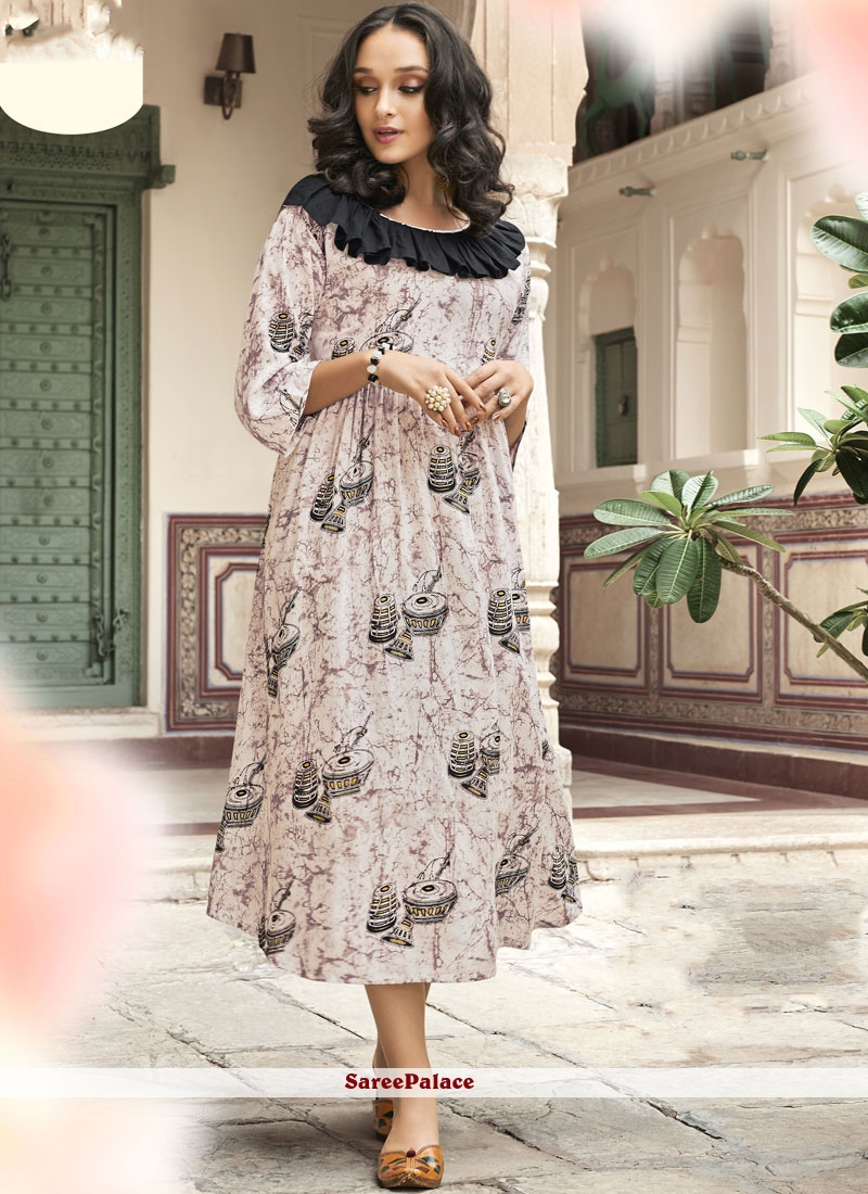 Off White Rayon Party Casual Kurti