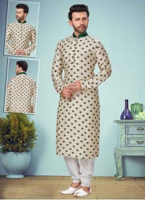 Off White Reception Rayon Kurta Pyjama