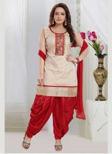 Off White Resham Readymade Salwar Suit