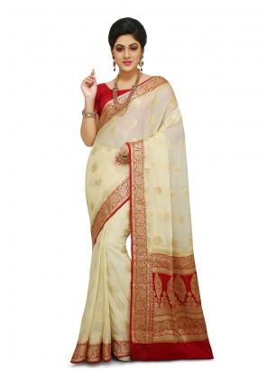 Off White Sangeet Designer Traditional Saree