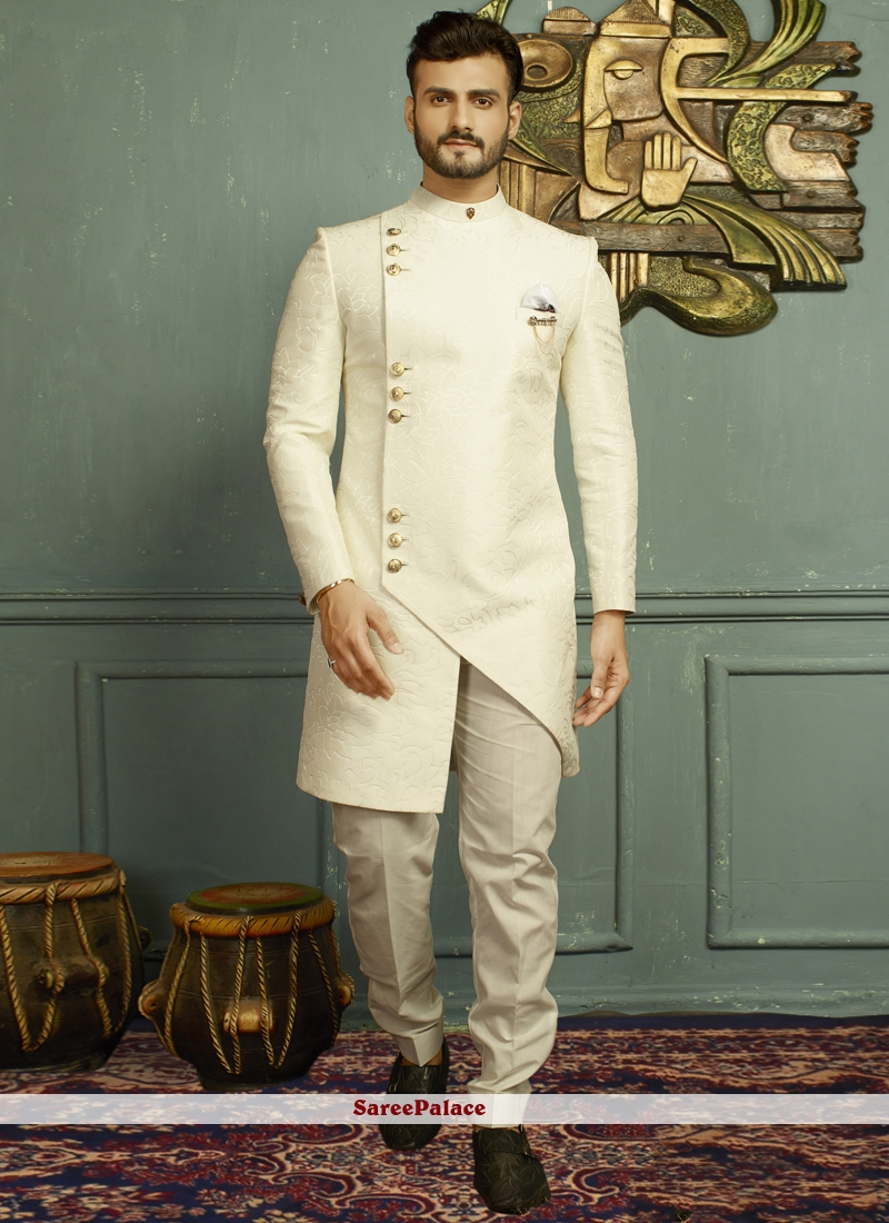Off White Sangeet Jacquard Indo Western