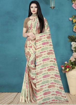 Off White Sangeet Satin Silk Printed Saree