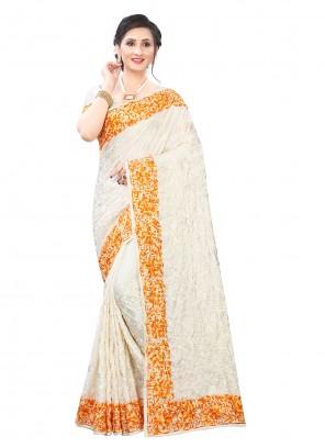 Off White Satin Embroidered Classic Designer Saree