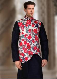Off White Satin Machine Embroidery  Nehru Jackets
