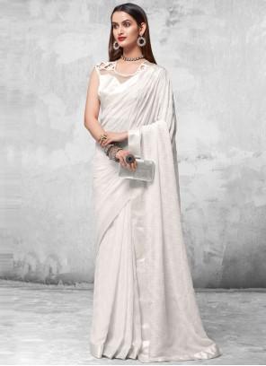 Off White Sequins Engagement Designer Saree