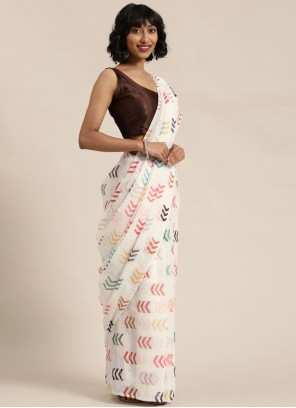 Off White Sequins Trendy Saree