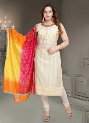 Off White Silk Readymade Churidar Salwar Kameez