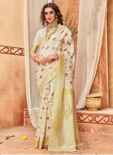 Off White Silk Weaving Traditional Saree