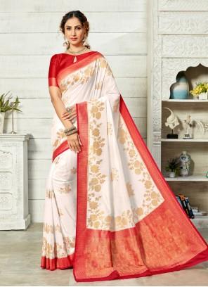 Off White Weaving Art Silk Traditional Saree
