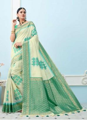 Off White Weaving Ceremonial Designer Saree