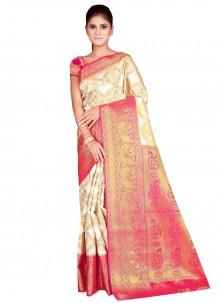 Off White Weaving Nylon Traditional Designer Saree