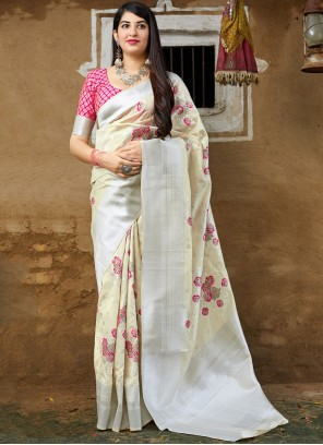 Off White Weaving Traditional Saree