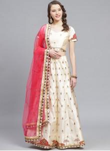 Off White Wedding Satin Designer Lehenga Choli