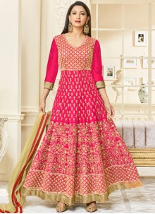 Opulent Embroidered Work Hot Pink Malbari Silk  Anarkali Salwar Kameez
