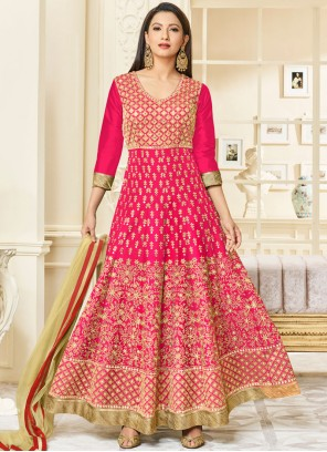 Opulent Embroidered Work Hot Pink Malbari Silk  Anarkali Salwar Kameez