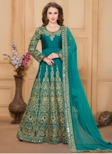 Opulent Embroidered Work Tafeta silk Designer Floor Length Suit