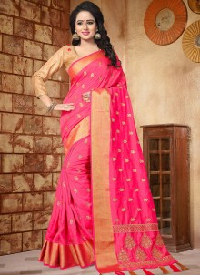 Opulent Hot Pink Embroidered Work Art Silk Traditional Designer Saree