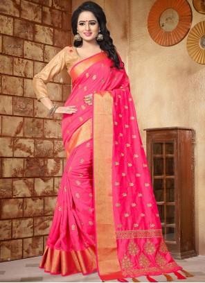 Opulent Hot Pink Embroidered Work Art Silk Traditional Designer Saree
