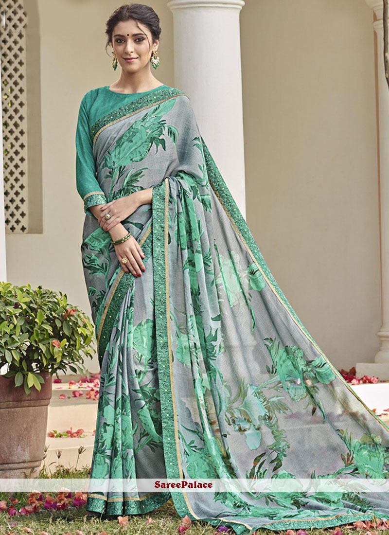 Opulent Lace Work Printed Saree