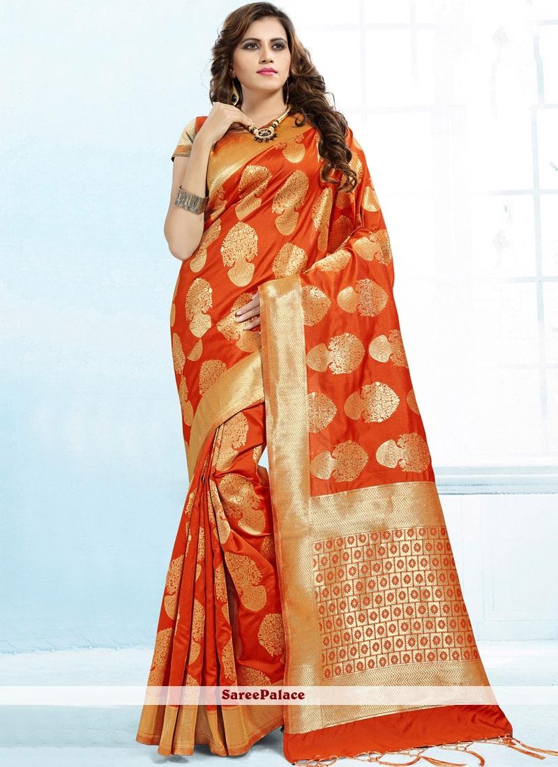 Orange Abstract Print Banarasi Silk Classic Saree