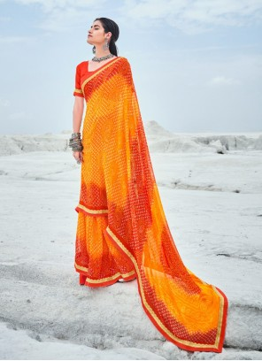 Orange Abstract Print Faux Georgette Casual Saree
