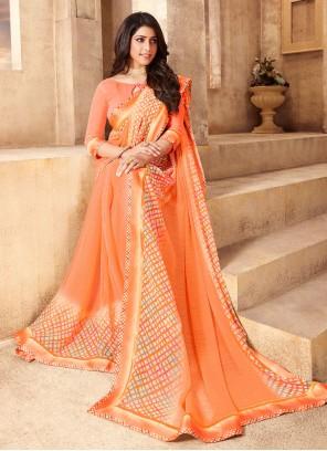 Orange Abstract Print Festival Classic Saree
