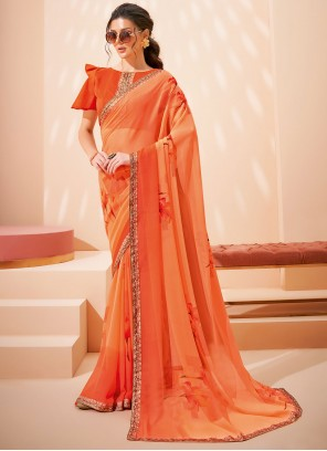 Orange Abstract Printed Faux Georgette Saree