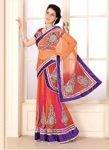 Orange And Hot Pink Net Party Wear Lehenga Saree