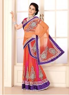 Orange And Hot Pink Net Party Wear Lehenga Saree