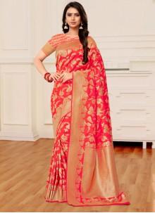Orange and Peach Banarasi Silk Half N Half  Saree