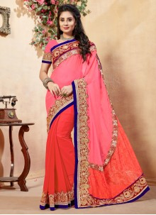 Orange and Peach Classic Designer Saree