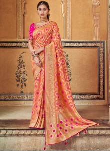 Orange and Peach Color Printed Saree