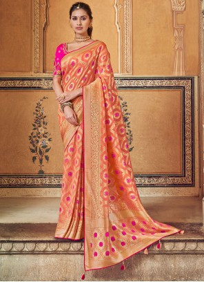 Orange and Peach Color Printed Saree