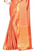 Orange and Peach Crepe Silk Classic Designer Saree