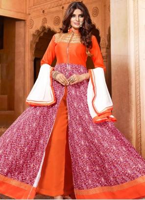 Orange and Pink Art Silk Embroidered Salwar Kameez