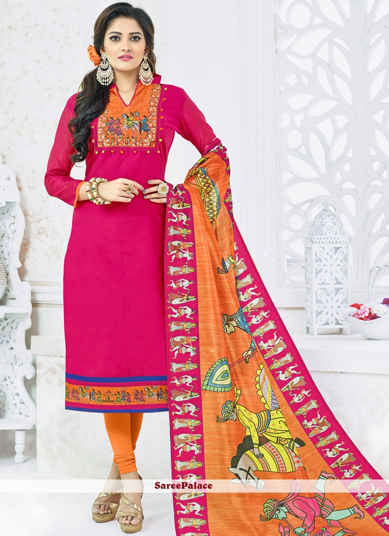 c3af5344e7 Buy Orange and Pink Cotton Churidar Suit Online