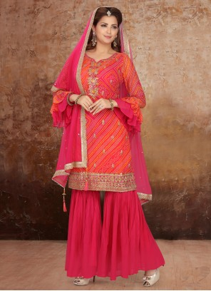 Orange and Pink Engagement Readymade Suit