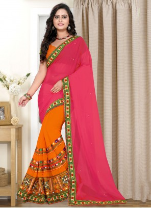 Orange and Pink Festival Faux Georgette Half N Half Trendy Saree