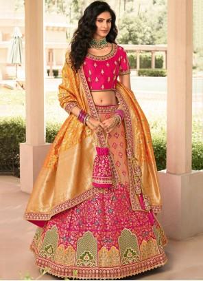 Orange and Pink Resham Banarasi Silk A Line Lehenga Choli